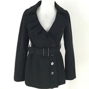New York & Co Gray Ruffle Collar Belted Peacoat